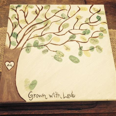 thumbprint baby shower tree baby shower thumbprint leaf tree completed craft