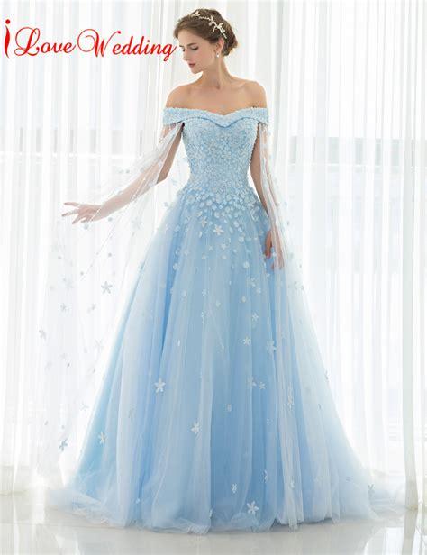 light blue floor length dress 2017 light blue wedding dresses off the shoulder lace