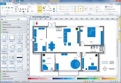 Home Floor Plan Design Software by Plumbing And Piping Plan Software