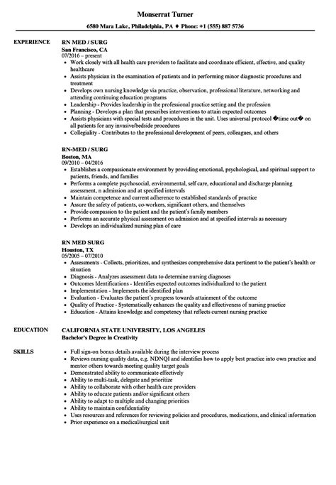 med surg rn resume exles magnificent sle resume for nurses 2016 gallery