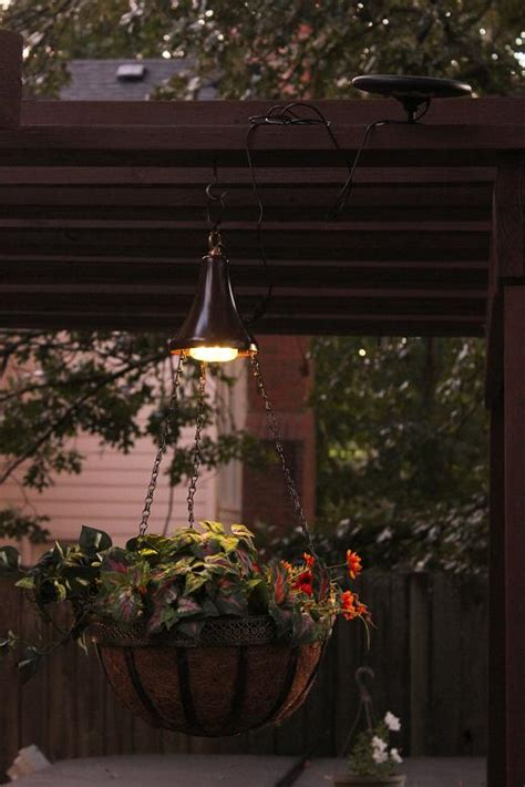 solar light hanging baskets two solar powered light kits for hanging baskets