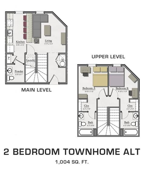 1 bedroom townhome floor plans for msu students student housing in east lansing