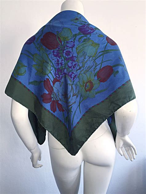Beautiful Things From Vintage Scarves by Beautiful Vintage Gucci Tulipano Blue Flower Tulip