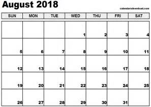 Kalender Augusti 2018 August 2018 Calendar