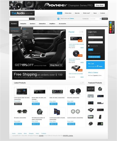 Car Audio Virtuemart Template Web Design Templates Website Templates Download Car Audio Speaker Website Templates