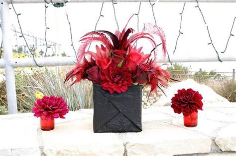 themes rosefeather larger black and red centerpieces by rolland glass via