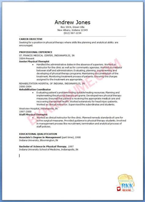 Sample Physical Therapy Resume – physical therapist resume template resume for jobs
