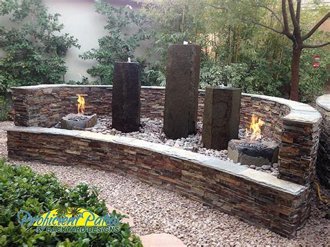 Custom Backyard Fire Pit & Water Features Design
