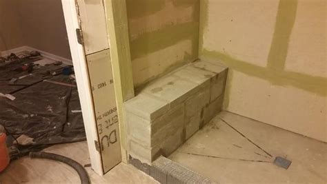 cinder block shower bench how to water proof concrete block shower bench ceramic tile advice forums john