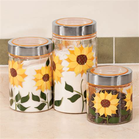 Sunflower Kitchen Canisters Sunflower Canisters Set Of 3 Glass Jars Glass