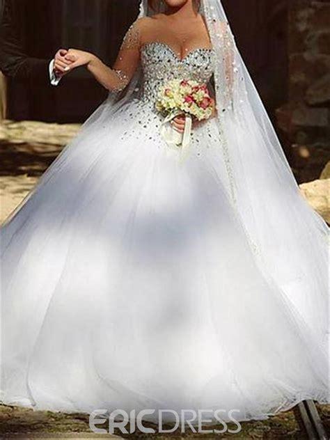 ericdress illusion neck beading wedding dress  long