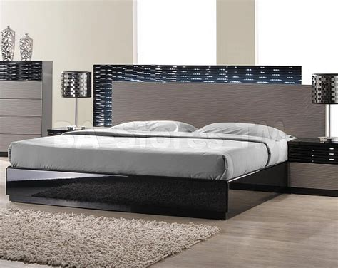 2402 10 roma black and grey lacquer 5 pc bedroom set bed