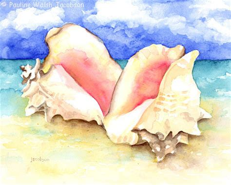Conch House by Watercolor Painting Conch Shells On Beach