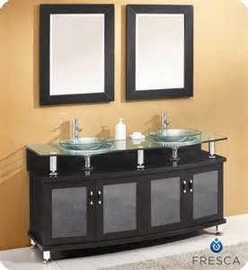 Contento 60 inch double sink vanity in espresso finish with mirrors
