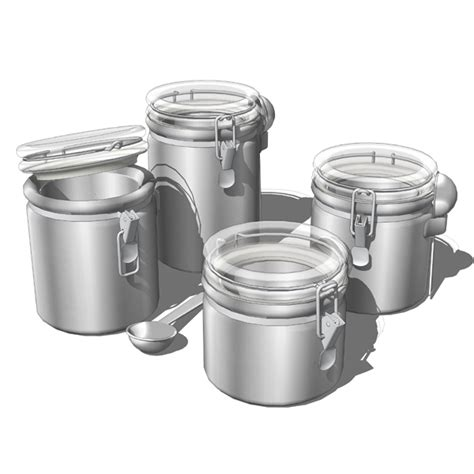 4 piece kitchen canister sets 4 piece big canister set 3d model formfonts 3d models