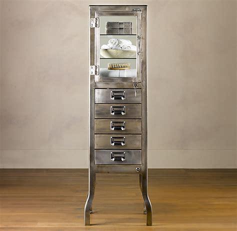pharmacy large bath cabinet  drawers burnished steel