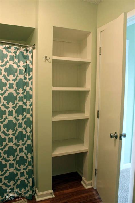 Open Closet Shelves After Diy Pinterest Bathroom Closet Shelves