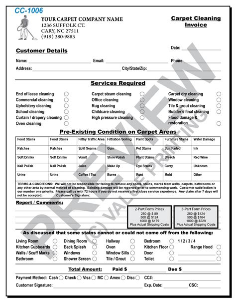 Carpet Cleaning Invoices, Janitorial Proposals