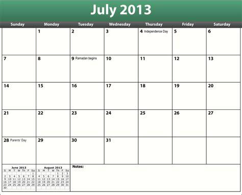 Calendar July 2013 July 2013 Calendar Pdf Printable Pdf July 2013 Calendar