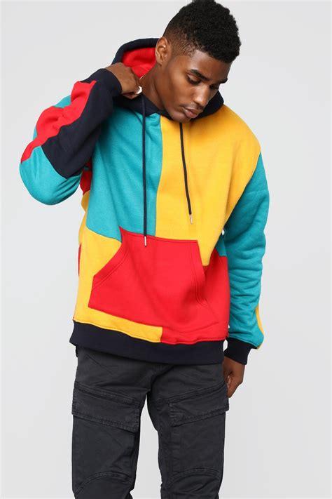 80 s colors 80 s color block hoodie multi