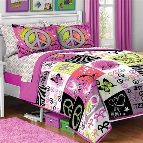peace sign bedding best 5pc girl pink yellow purple black heart love peace