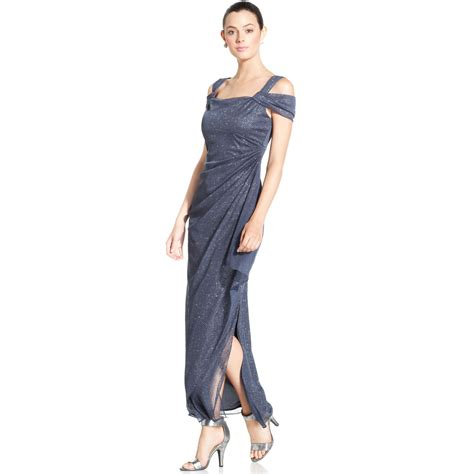 Alex Evenings Cold Shoulder Draped Gown alex evenings cold shoulder draped glitter gown in gray smoke lyst