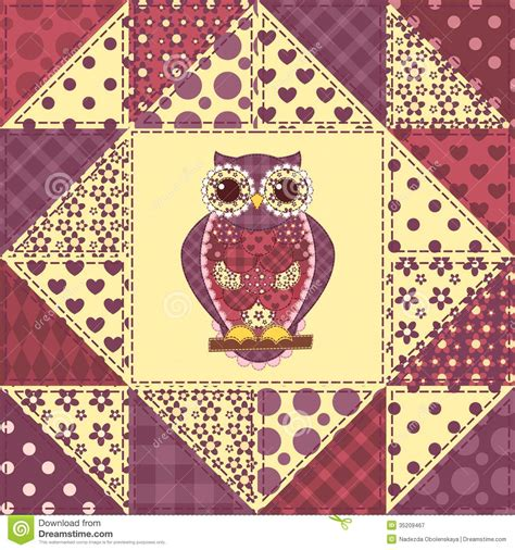 Owl Patchwork Patterns - seamless patchwork owl pattern 2 royalty free stock