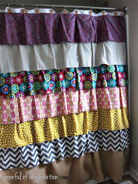 how much fabric to make a shower curtain diy ruffled shower curtain spoonful of imagination