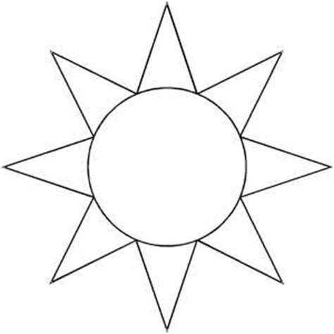 template of the sun sun sketch coloring page