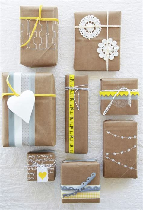 Gift Paper Craft - gift wrapping ideas using lunch bags and kraft paper