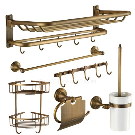 designer antique brass 6 bathroom accessory sets