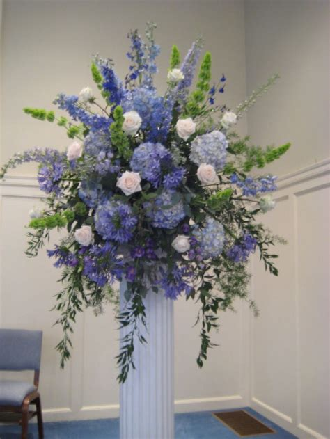 blue hydrangea flower arrangements hydrangea delphinium bells of ireland agapanthus blue