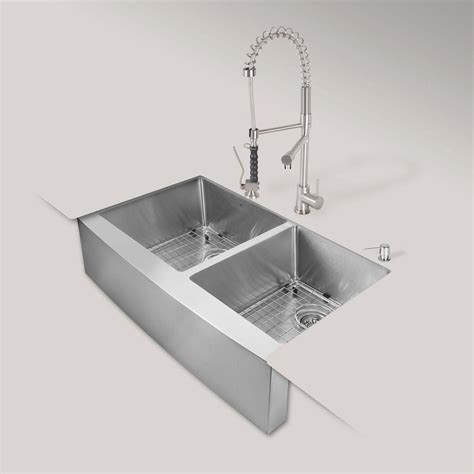 farmhouse sink with faucet holes vigo all in one farmhouse apron front stainless steel 33