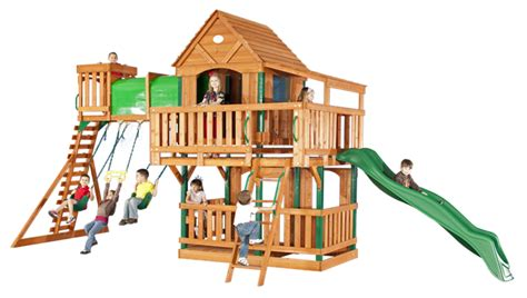 Backyard Discovery Grand Towers All Cedar Swing Set Image Gallery Discovery Playsets