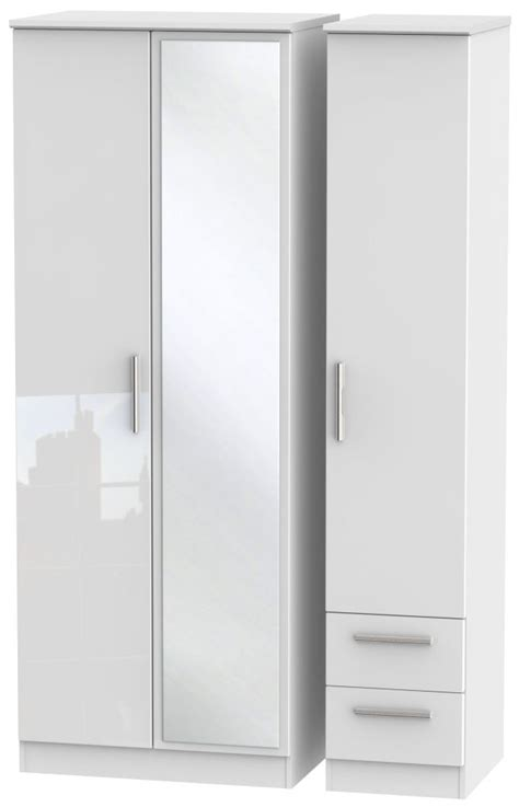 High Gloss White Wardrobe by Knightsbridge High Gloss White Wardrobe With