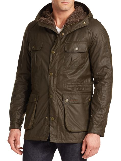 Hooded Cotton Jacket lyst barbour brindle hooded waxed cotton jacket in green