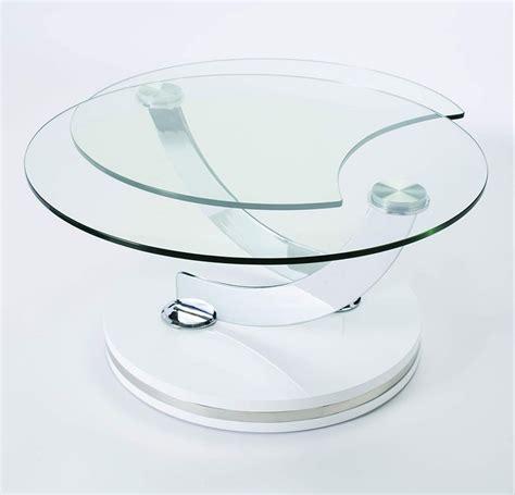 table basse ronde en verre design table de salon transformable en verre