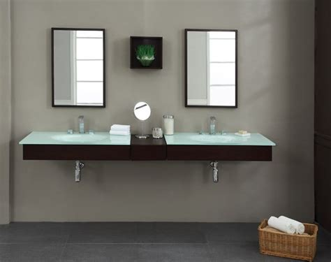 Blox 62 inch modern floating bathroom vanity set solid poplar with cherry veneer