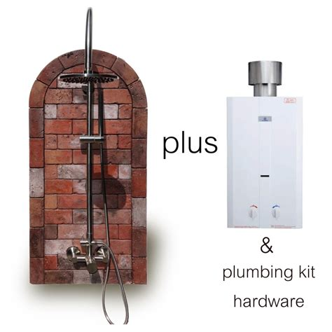 outdoor shower water heater rustic brick outdoor shower with water heater