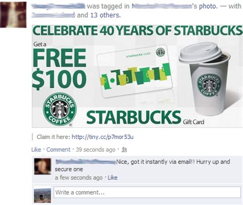Starbucks Gift Card On Facebook - facebook scam celebrate 40 years of starbucks get a free 100 starbucks gift card