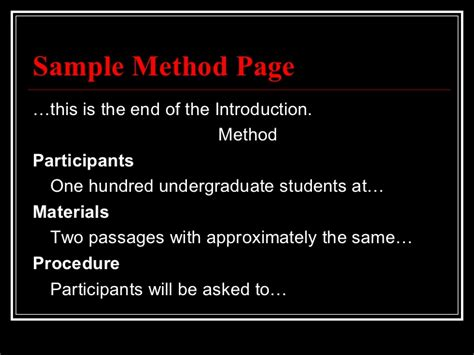 how to write a methods section apa apa method section