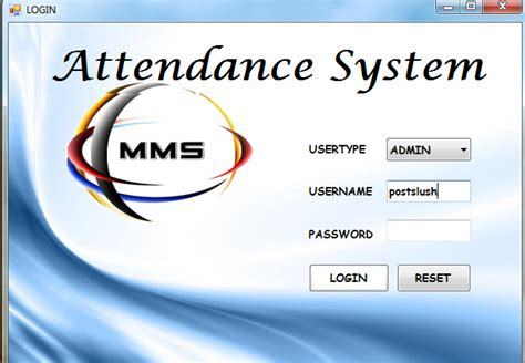 attendance management system template attendance system project in vb net postslush tech