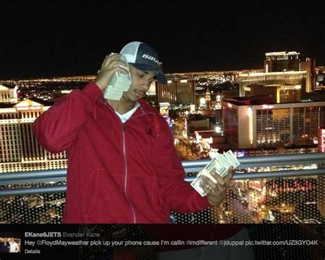 mayweather money stack evander kane uses stacks of 100 bills as a phone to call