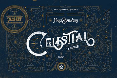 font text pattern celestial fonts vintage pattern display fonts on