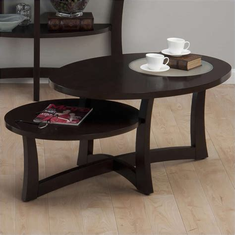 asymetrical oval coffee table in skylah espresso 347 1
