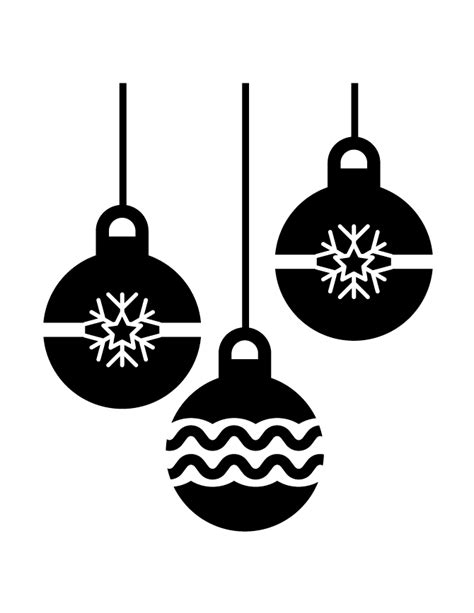 three holiday ornaments silhouette h m coloring pages