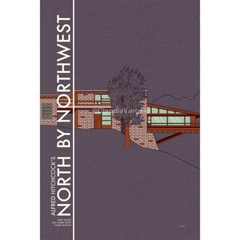 movie house modernist mid century modern movie poster north by northwest print in