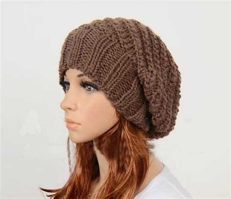 Handmade Knitted Hats - slouchy handmade knitted hat clothing cap brown on
