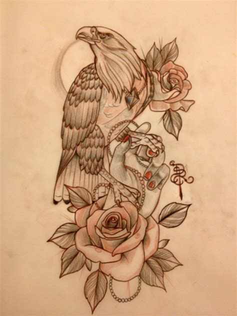 eagle tattoo with roses calm new school eagle with rose and girly hand tattoo