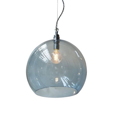 Blue Glass Pendant Lights Transparent Blue Glass Globe Pendant Light On Drop Braided Cable